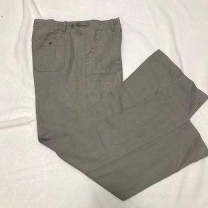CALVIN KLEIN GRAY LINEN CASUAL PANTS